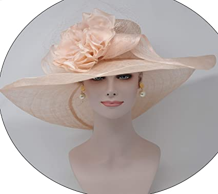 7c8309676 ray&daniel Super Wide Brim Sinamay hat with Satin Flowers Church ...