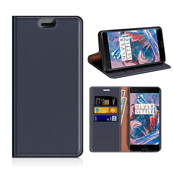 sports shoes f1f9d 58781 OnePlus 3T Wallet Case, Mobesv OnePlus 3T Leather Case/OnePlus 3 Phone Flip  Book Cover/Viewing Stand/Card Holder for OnePlus 3T/OnePlus 3, Dark Blue