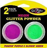 Pack de 2 pots de brillantine couleur Néon Pumpin' Purple et Glowin' Green