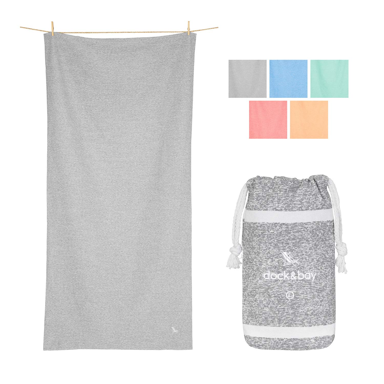 Dock & Bay Microfibre Towels for Yoga Mat - Mountain Grey, 63 x 31 - Fitness, Shower & Travel- Quick Dry, Absorbent for Gym, hot Yoga, Pilates