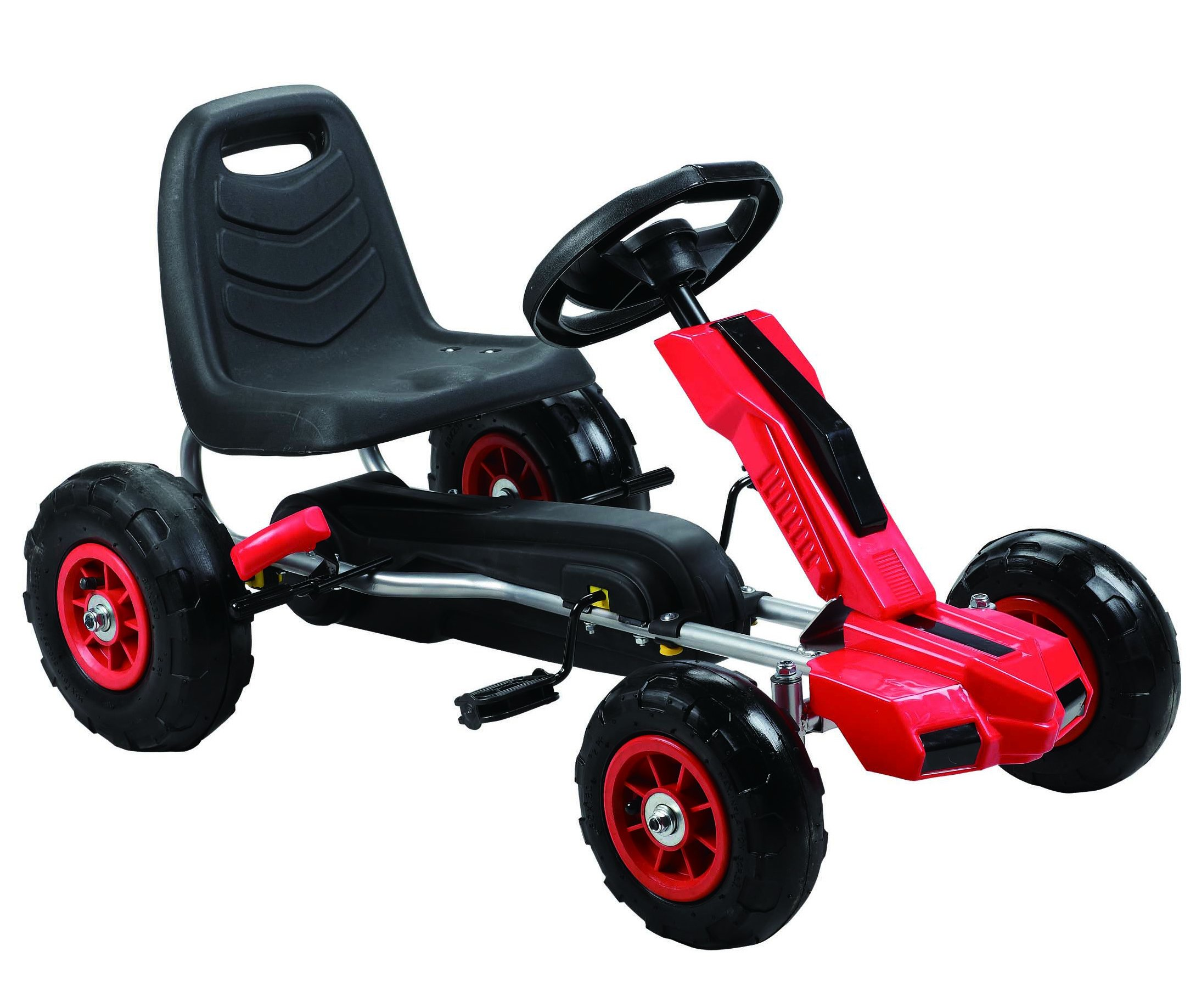 Vroom Rider Power Pedal Go-Kart Ride Ons with Pneumatic Tire, Red