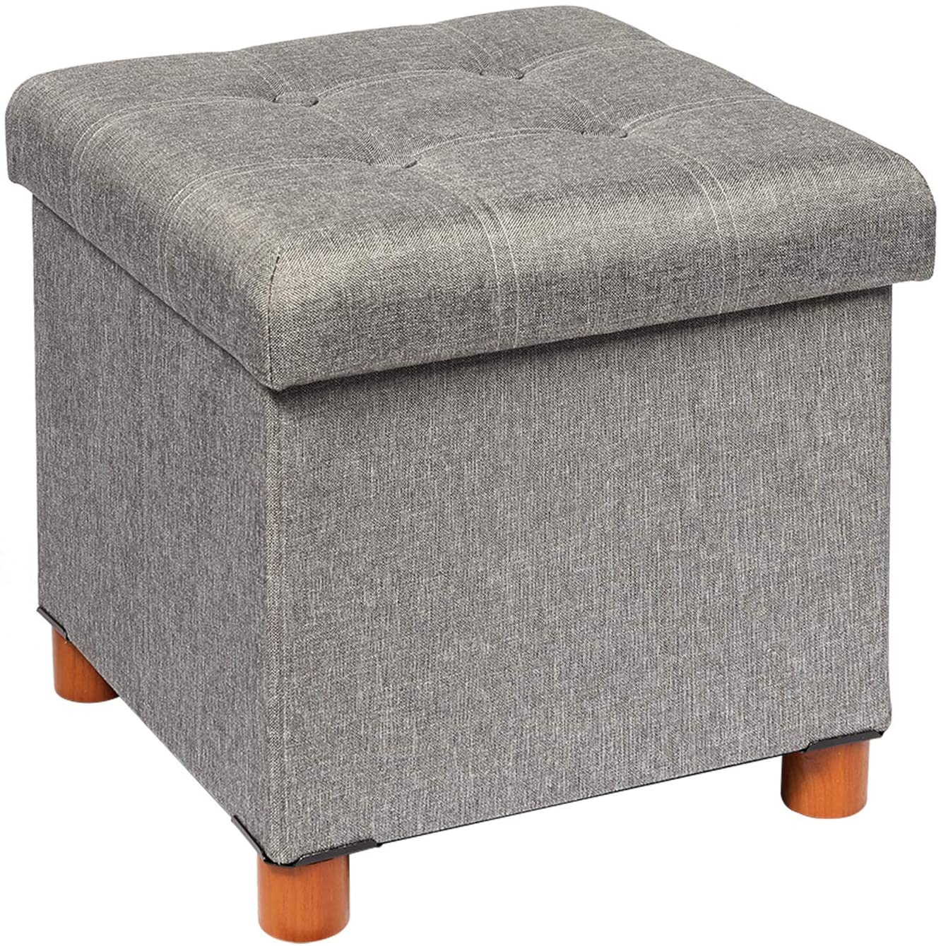 """B FSOBEIIALEO Storage Ottoman with Tray, Foot Stools and Ottomans with Wooden Feet, Storage Cube Seat Linen Grey 15"""""""