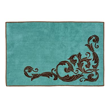 Black Forest Decor Western Scroll Turquoise Bath Rug