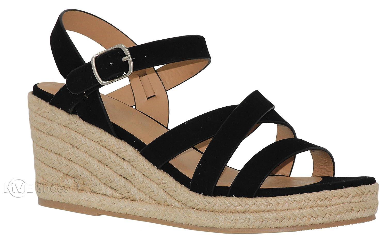 MVE Shoes Women's Open Toe Strappy Sandal - Summer Espadrille Platforms - Faux Leather Cute Shoes B07B6C2C61 10 B(M) US|Black*j
