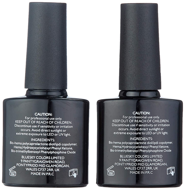 Bluesky No Wipe Top Coat and Soak Off Base Coat Bundle, 10 ml (Requires  Drying Under UV or LED Lamp)