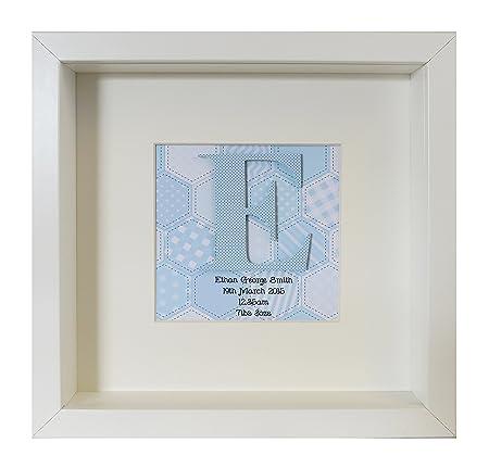 Personalised New Baby\'s Initial Box Frame Blue: Amazon.co.uk ...