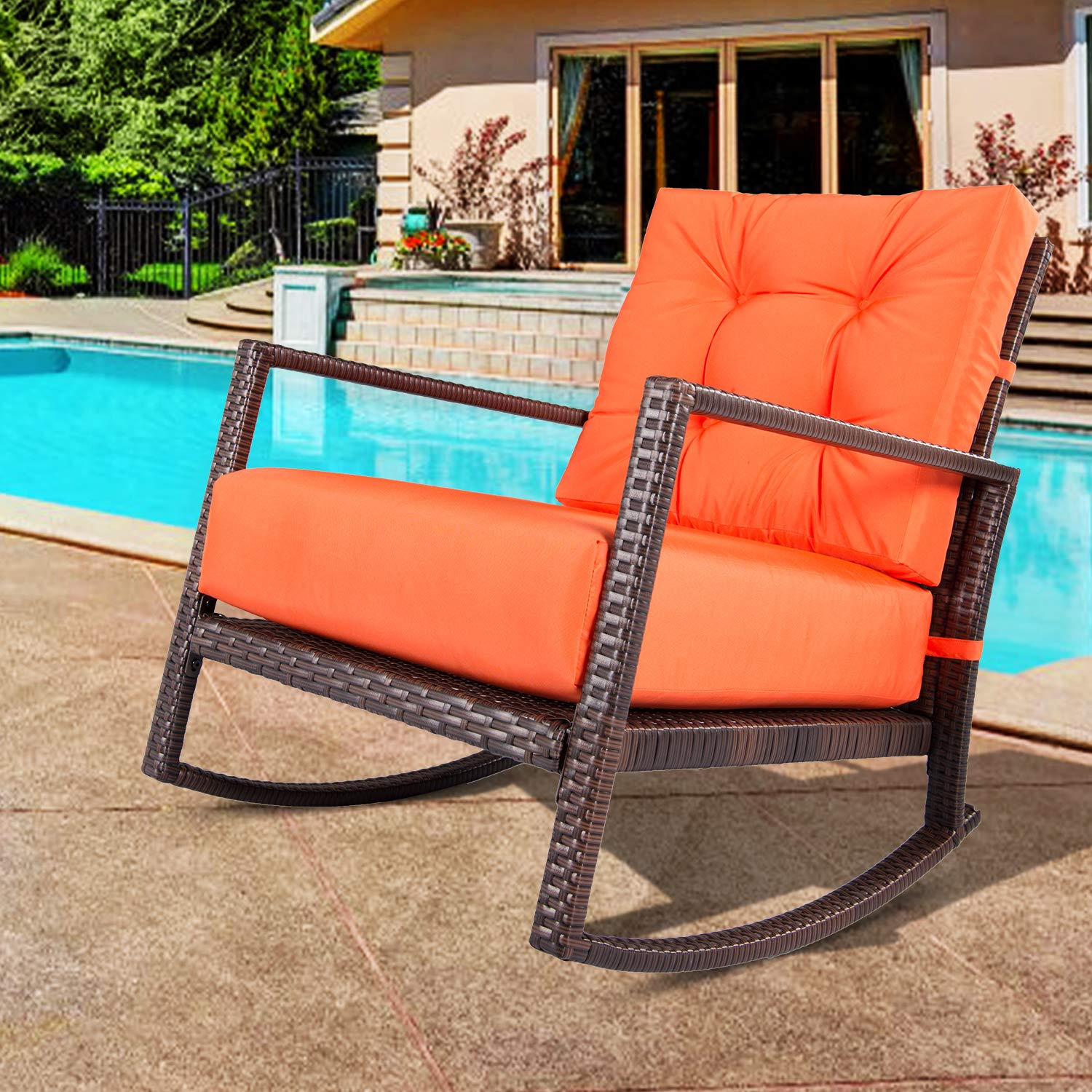 Outroad Rocking Wicker Chair Orange Lounge Chair with Thick Cushion for Outdoor, Porch, Garden, Backyard or Pool by OUTROAD OUTDOOR CAMPING GARDEN PATIO