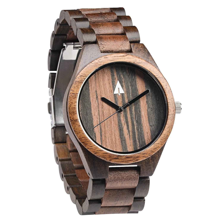 treehut Herren Armbanduhr Walnuss-Holz und Ebenholz mit allen Holz Quarz Analog mit QualitÄt Miyota Bewegung und Edelstahl Tri-
