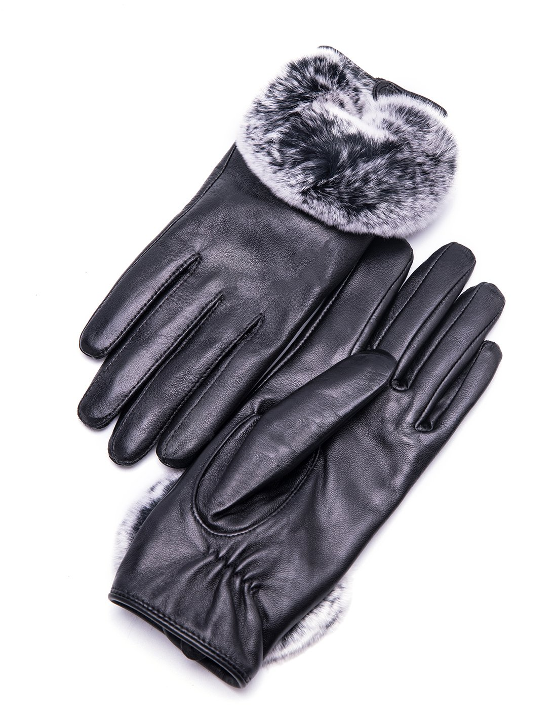 YISEVEN Women's Touchscreen Lambskin Leather Gloves Rex Rabbit Fur Cuff Soft Hand Warm Heated Fleece Lined Luxury Ladies Winter Accessories Dress Driving Xmas Gift Packed, Black 7.0''/M