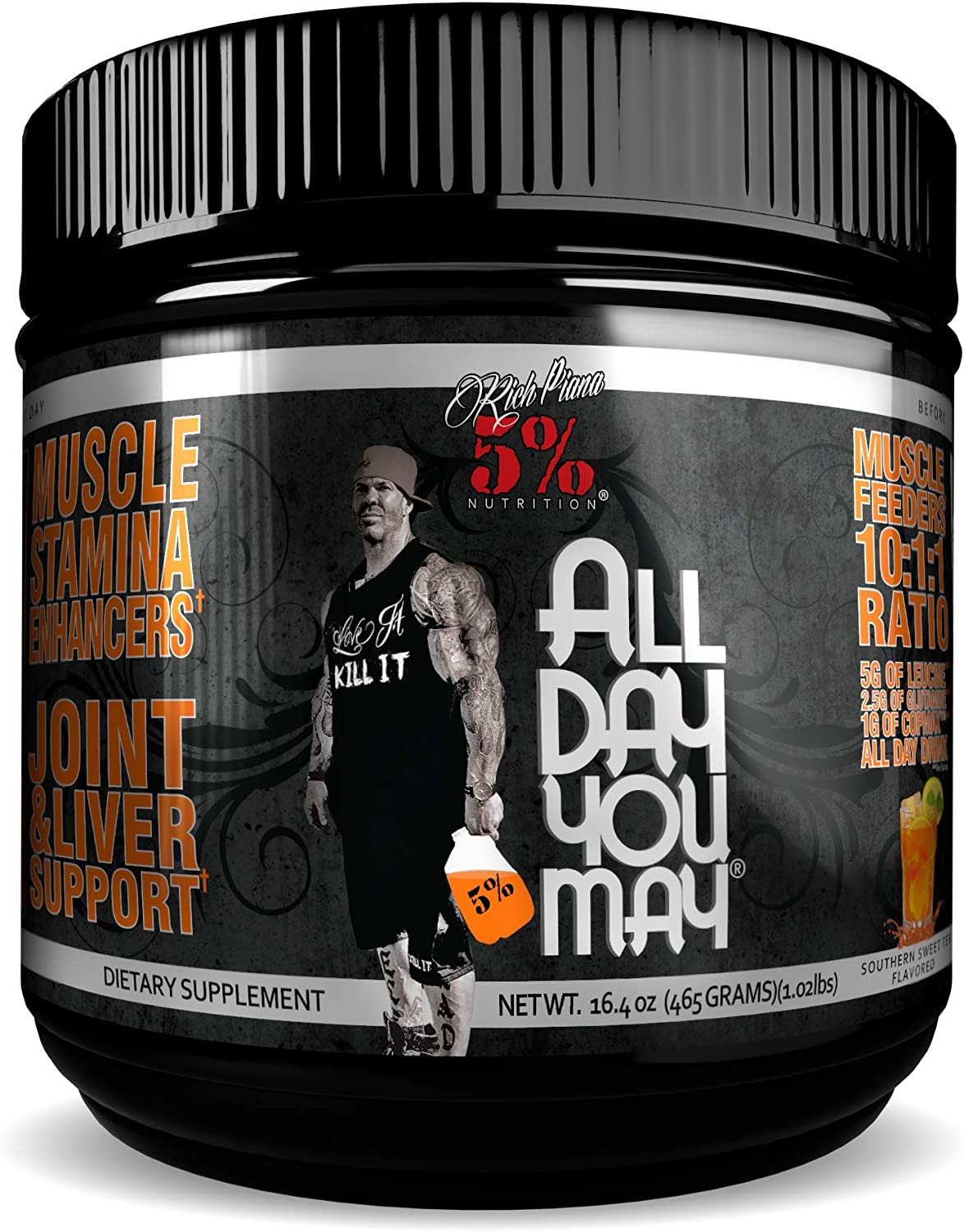 Rich Piana 5 Nutrition All Day You May BCAA Joint Recovery Drink Southern Sweet Tea