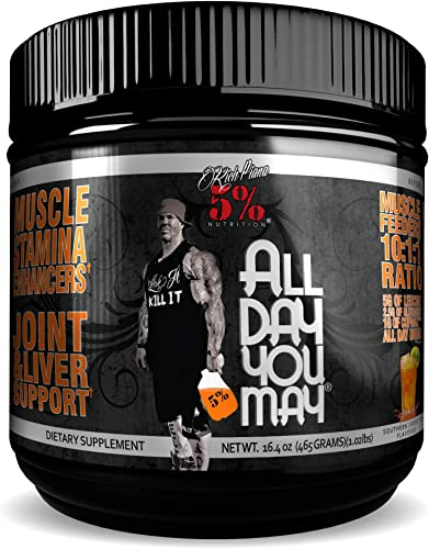 Rich Piana 5 Nutrition All Day You May 10 1 1 BCAA Powder, 9g of Amino Acids Elite Muscle Recovery, Hydration, Lactic Acid Buffer, Joint Support Sugar-Free, 16.4 oz, 30 Srvgs Southern Sweet Tea