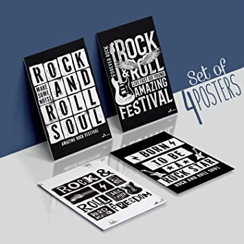 Rock & ROLL Festival Band Posters, Set of Four 11X17 Vintage Music
