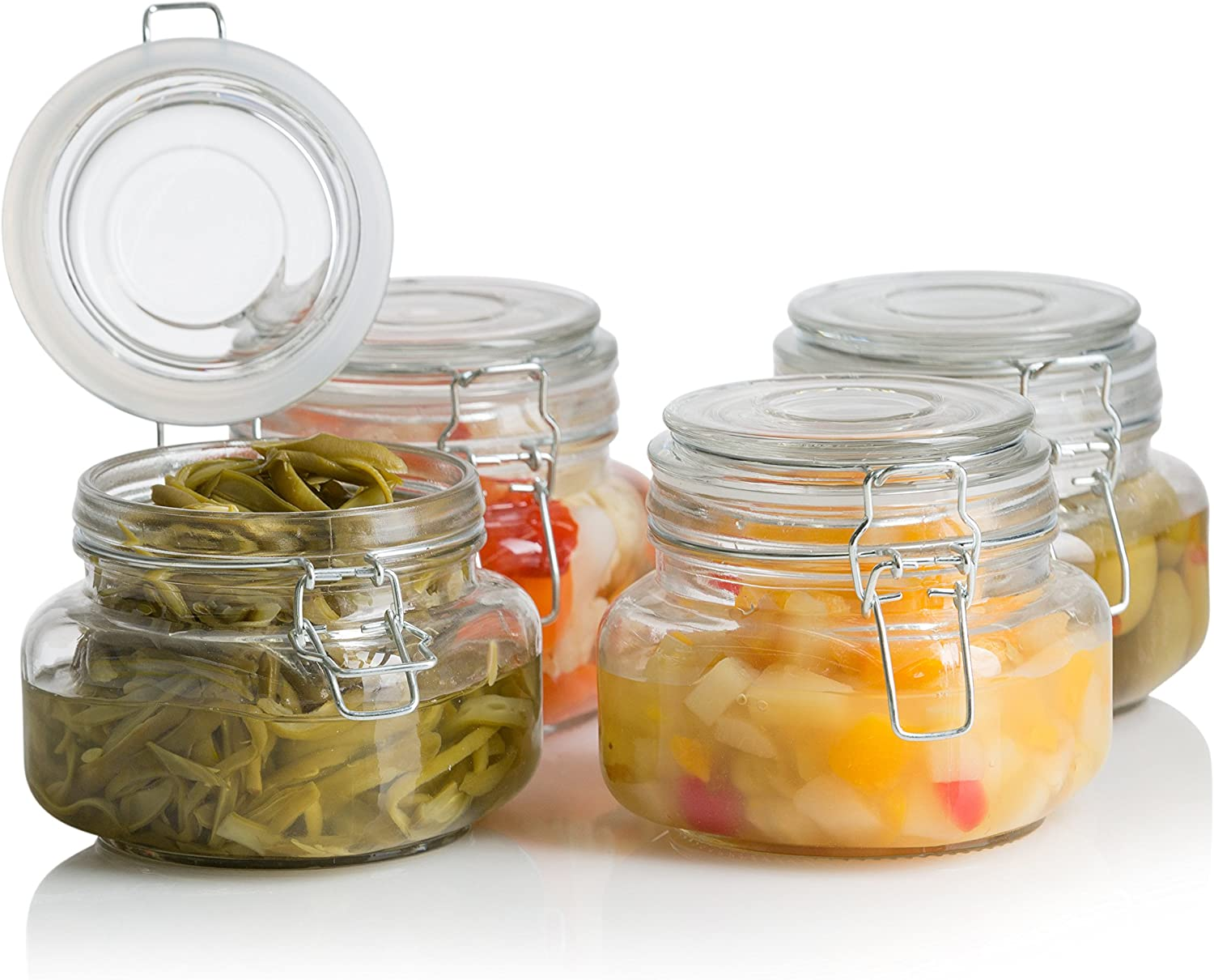 Klikel Square Glass Kitchen Storage Canister Jars - Crystal Clear Food Storage Jars With Clear Lid And Bail & Trigger Hermetic Seal - 16oz, (set of 4)