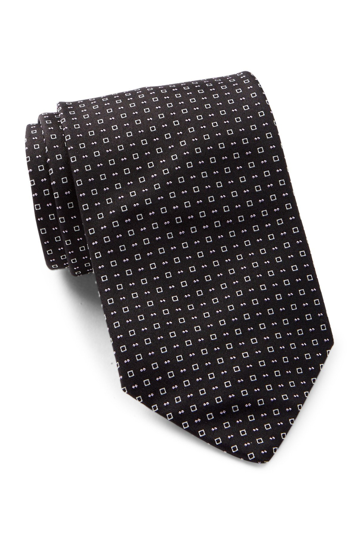 Hugo Boss Men's Neat Square Print Italian Silk Tie, OS, Black