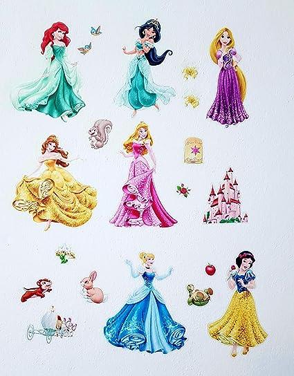 Adesivi Murali Principesse Disney.Kibi Adesivi Da Parete Principesse Disney Cameretta Adesivo Da