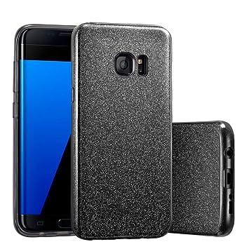 Coovertify Funda Purpurina Brillante Negra Samsung S7 Edge, Carcasa Resistente de Gel Silicona con Brillo Negro para Samsung Galaxy S7 Edge (5,5