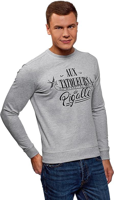 oodji Ultra Hombre Jersey Estampado con Escote en V