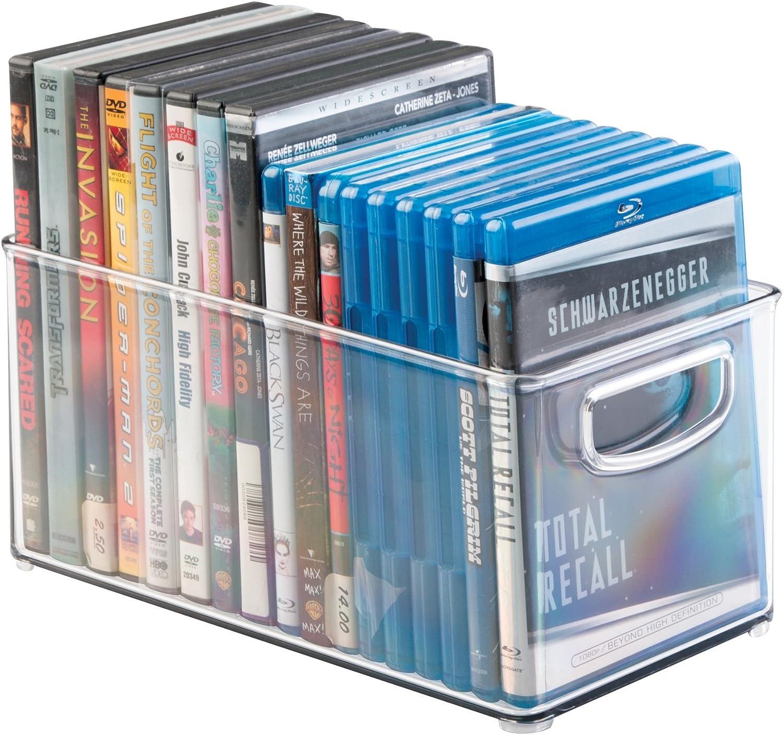 PS4 Aufbewahrungsbox Kunststoff B CDs und Videospiele z durchsichtig mDesign 2er-Set DVD-Aufbewahrungsbox praktisches Aufbewahrungssystem mit Griff f/ür DVDs