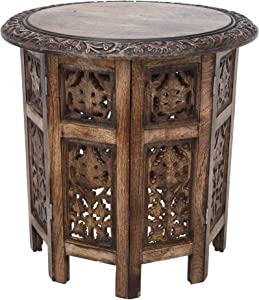 Round Coffee Tables Décor Antique for Living Room Bedroom Boho Solid Carved Wood Furniture Indian Decorative Mango Wood End Table - 18x18 Inch