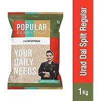 Popular Essentials Regular Split Urad Dal Pouch, 1 kg