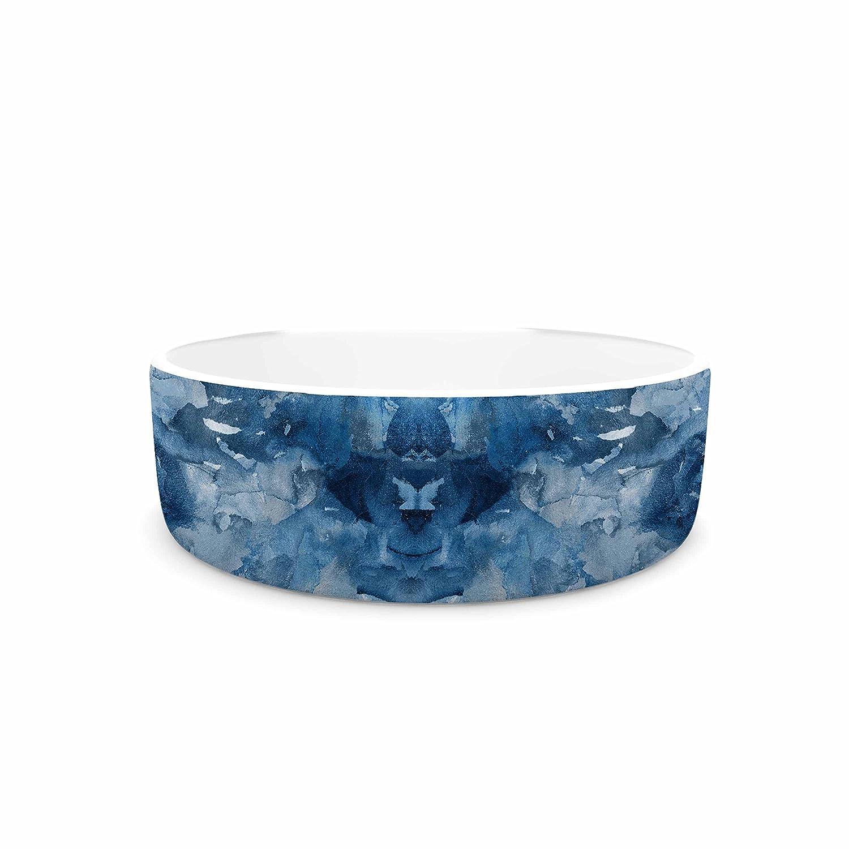 KESS InHouse Ebi Emporium Tie Dye Helix, bluee  bluee White Pet Bowl, 4.75