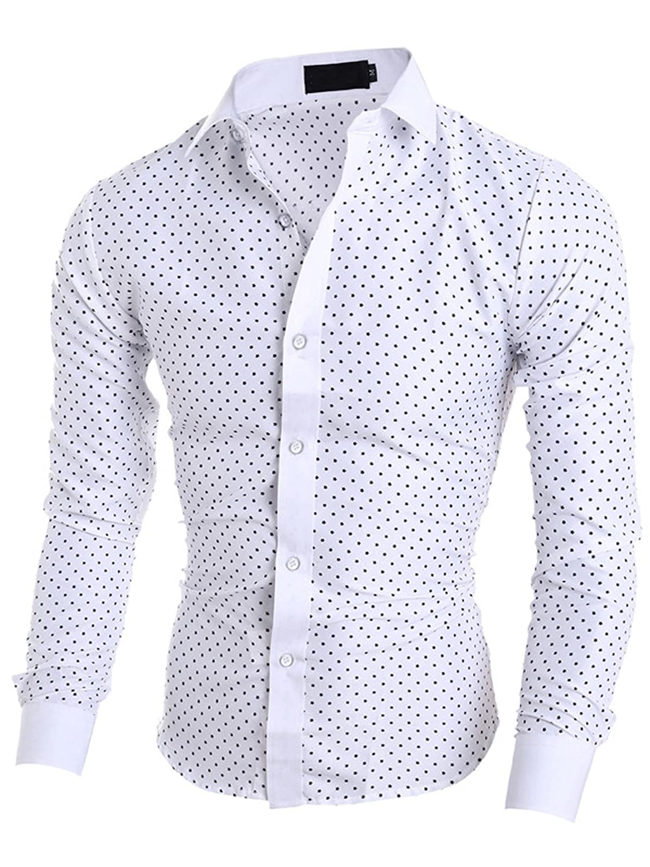 Elonglin Men Five-Pointed Star Printed Shirt Long Sleeve Dress Shirt Regular Fit El.AW-5071
