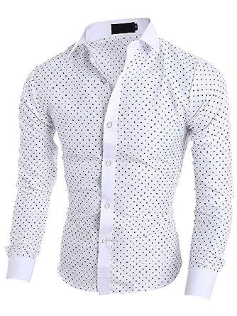 nouveau style de03d 84a75 Elonglin Homme Chemise à Pois Boutonné Chemisette à Manche Longue  Décontractée Bleu Marine Et Blanc