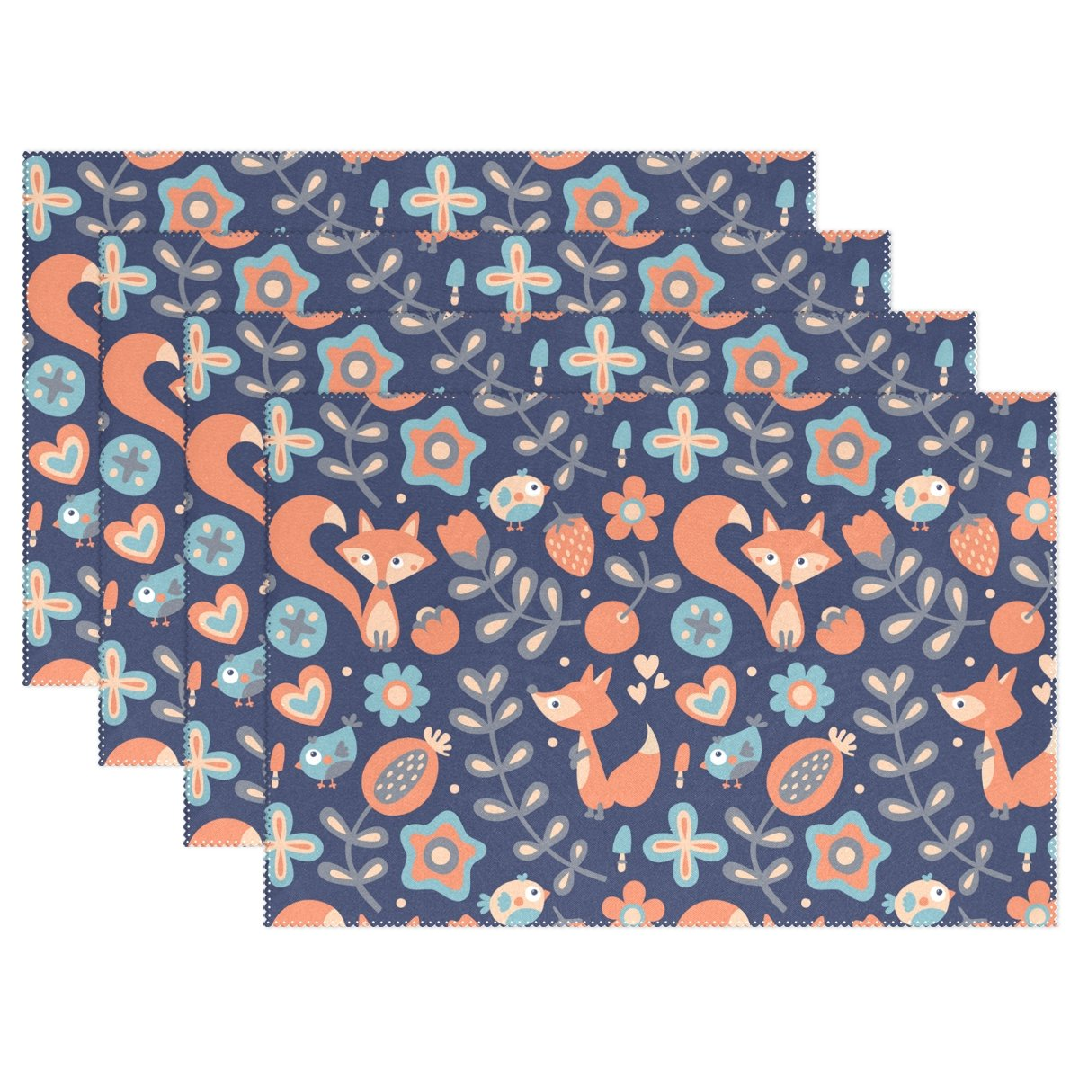 Wozo Spring Floral Bird Foxプレースマットテーブルマット、ストロベリーラブハート12