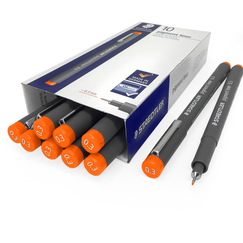 Staedtler 308 Pigment Liner Fineliner - 0.3mm - Pack of 10 - Orange