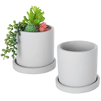 MyGift Concrete 4-Inch Cylindrical Mini Succulent Planter Pots with Removable Drip Tray, Set of 2 : Garden & Outdoor