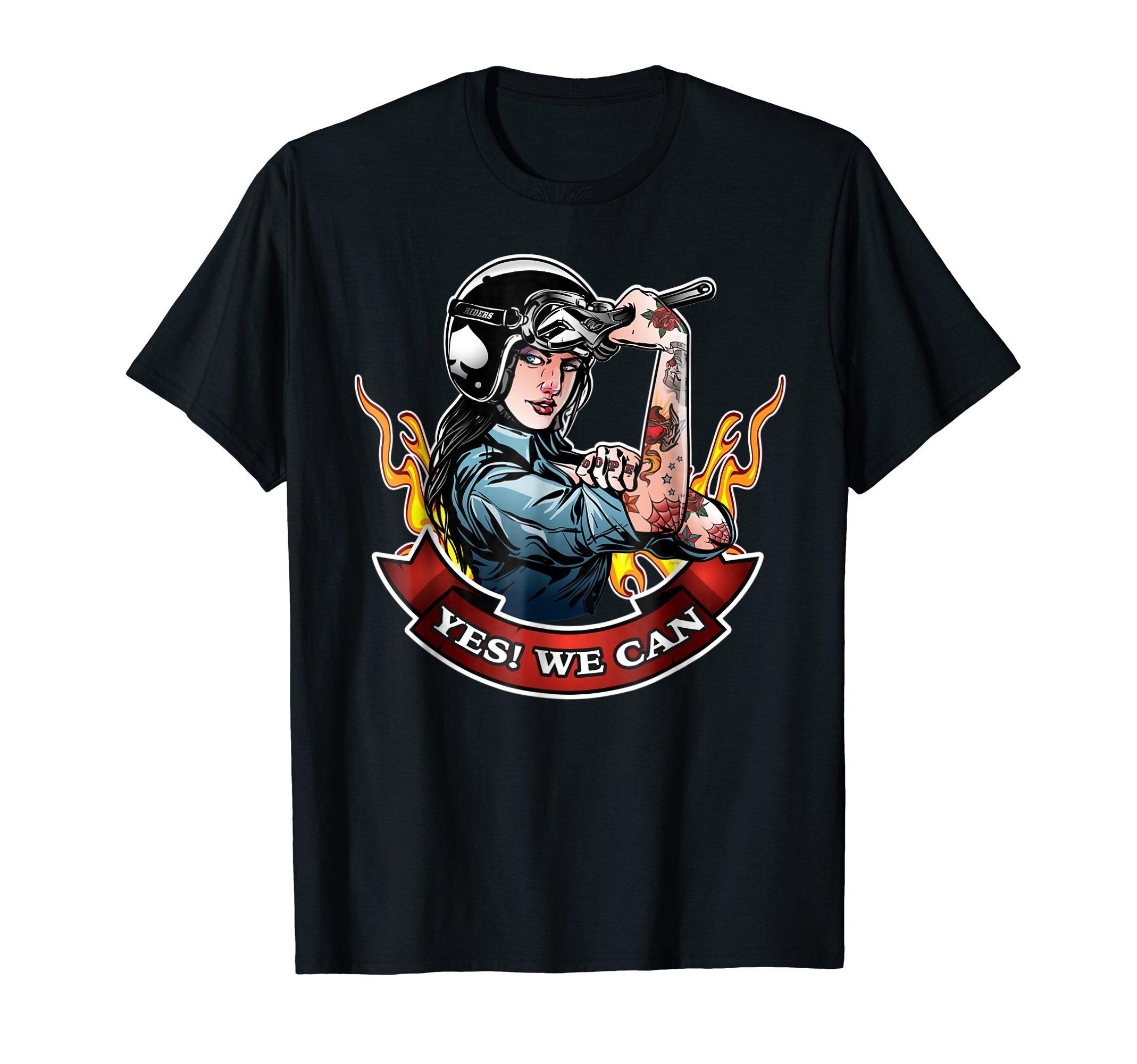 Yes-We-can-Biker-Woman-Motorcycle-T-Shirt-Shirt-Tee