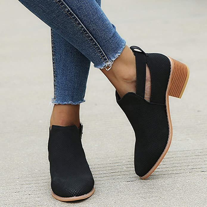 Amazon.com | Crazy-Shop Winter Boots Women Out Ankle Boots for Women Pointed Toe Square Heel Ladies Shoes Bota | Boots