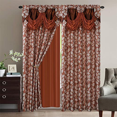 Luxury Home Collection Jacquard Leaves Window 2 Panel Curtain Set with Attached Valances and Backing with 2 Tassel Tie Backs -Window Curtains for Bedroom, Living Room, or Dining Rust, 55 x 84
