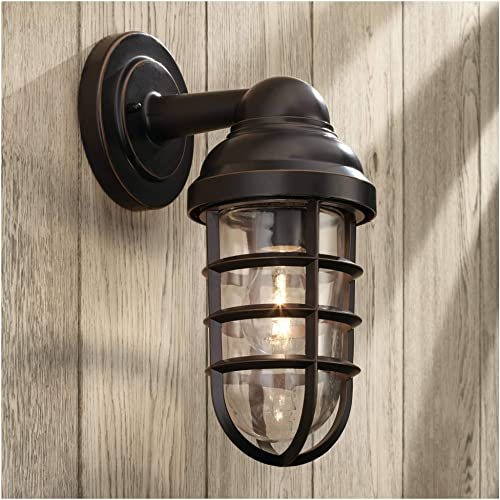 Marlowe Industrial Farmhouse Outdoor Wall Light Fixture Bronze 13 1/4″ Caged Clear Glass Up Down