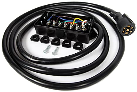Lavolta 7-Way Trailer Connector Plug Cord - 7-Pin Wiring Harness with Junction