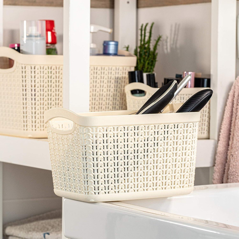 Cesto portaoggetti in plastica 3,3 l leggero cameretta dei bambini rettangolare per bagno KADAX cucina con manici universale crema Plastica