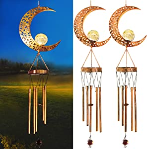 Vknic 2-Pack Solar Powered Moon Lights Wind Chimes, Metal Casting Shadows Moon Style Wind Chimes with Crackle Glass Ball Warm Lights, Outdoor Home Garden Patio Decor for Mother's Day Birthday Gift