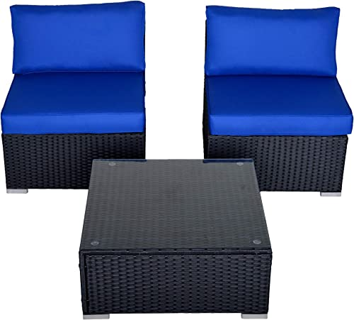 SUNVIVI OUTDOOR 3 Piece Patio Wicker Furniture Set, Outdoor Sectional Armless Sofa, Additional Furniture Set with Coffee Table and Removable Cushions Black