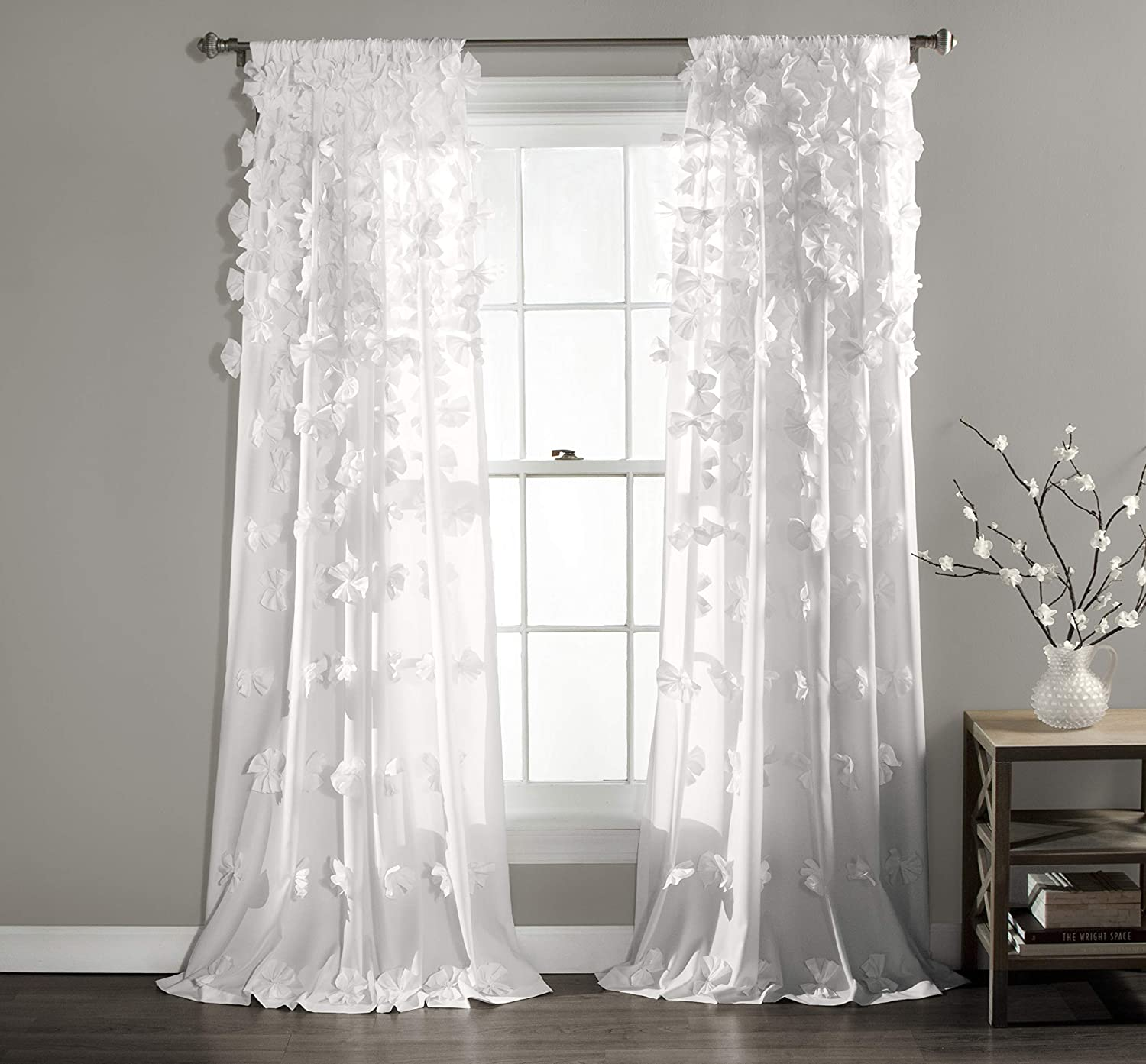 "Lush Decor Riley Curtain Sheer Ruffled Textured Bow Window Panel for Living, Dining Room, Bedroom (Single) 95"" x 54"" White, L"