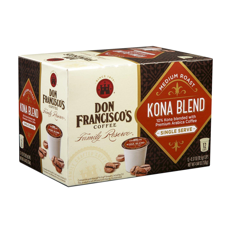 Don Francisco's Kona Blend, Premium 100% Arabica Coffee, Medium-Roast, Single-Serve Pods, 12 ct