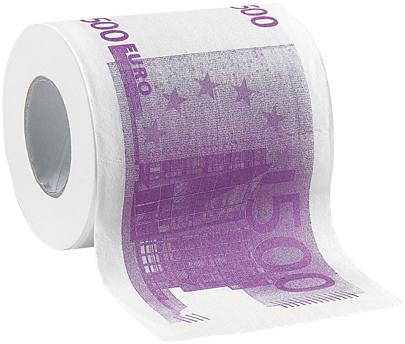 Klopapierrolle - bedruckt mit 500€ Geldscheinen
