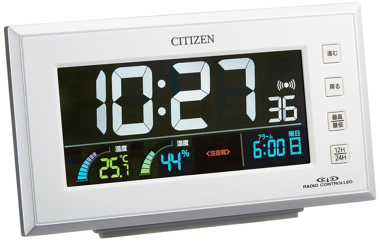 シチズン 電波 目覚まし 時計 デジタル パルデジットネオン カラー 液晶 白 CITIZEN 8RZ121-003 B0060ECQ6Qホワイト