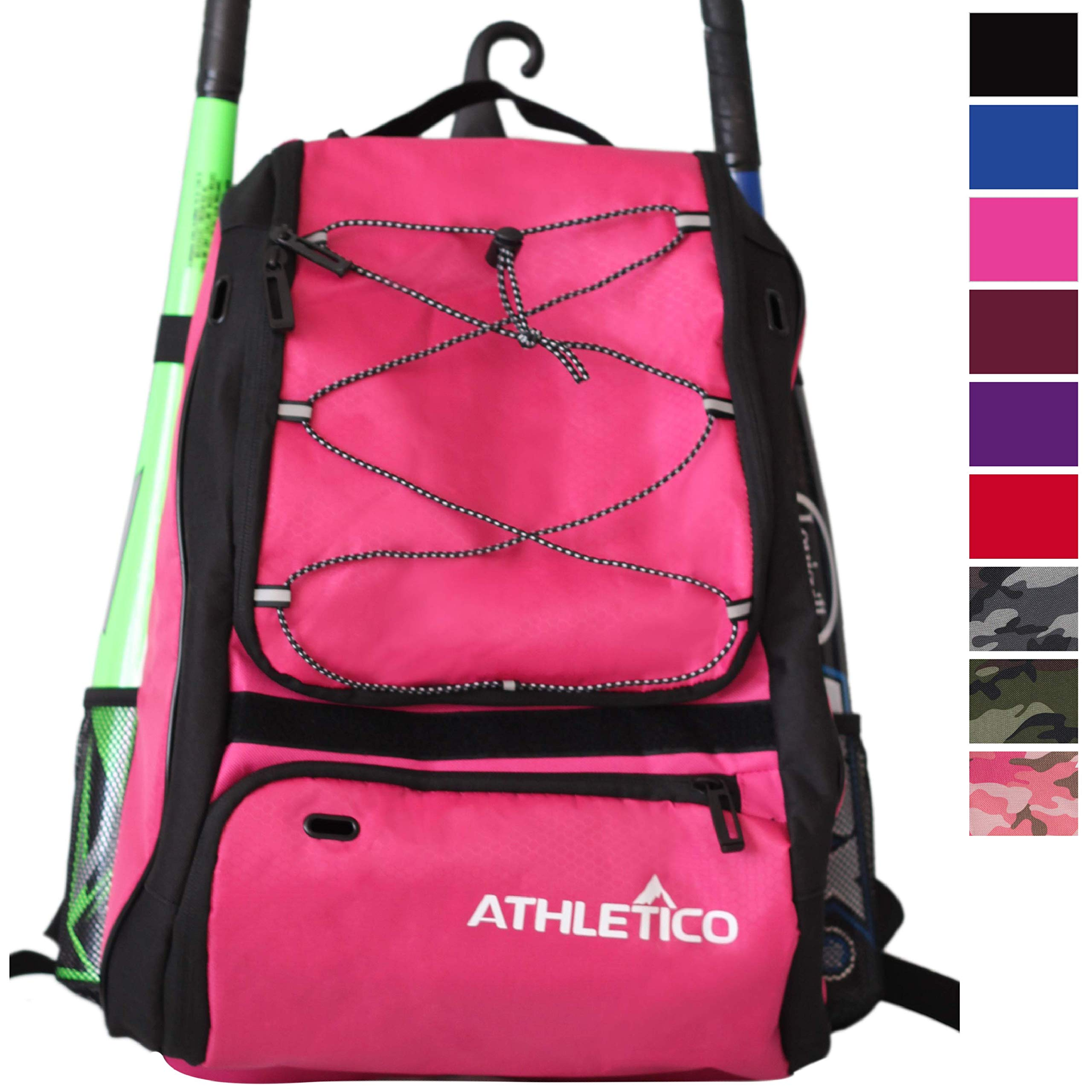 Athletico Baseball Bat Bag - Backpack for Baseball, T-Ball & Softball Equipment & Gear for Youth and Adults | Holds Bat, Helmet, Glove, Shoes | Shoe Compartment & Fence Hook (Magenta) by Athletico