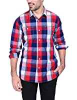 Mens Plaid Casual Dress Shirt Long Sleeve Button Down Shirts (Red/Blue/Burgundy)
