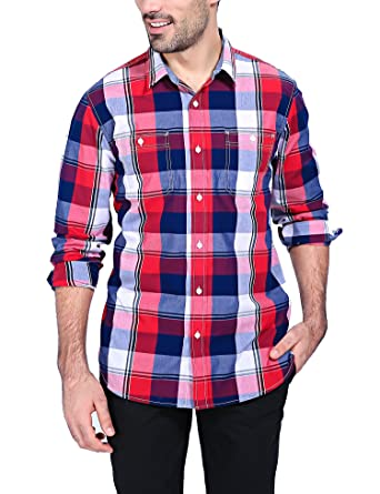 Mens Plaid Casual Dress Shirt Long Sleeve Button Down Shirts (Red ...