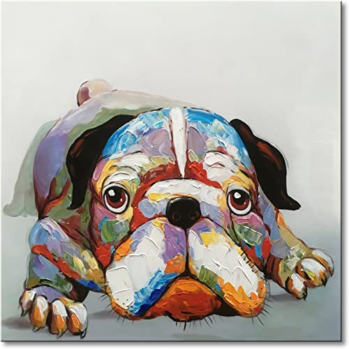 Everfun Oil Painting Abstract Dog Canvas Wall Art Hand Painted Modern Animal Cute Bulldog Artwork Contemporary Picture Framed and Stretched Home Decor 32 Wx32 H