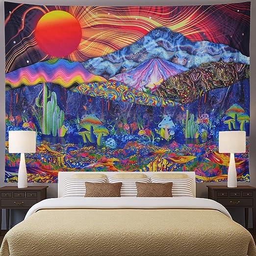 Trippy Mushroom Psychedlic Hippie Tapestry Art Room Wall Hanging Throw Tapestry
