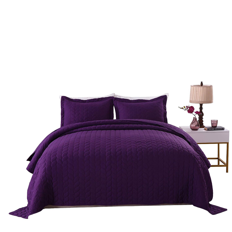 Amazon com marcielo 3 piece lightweight bedspread quilt set microfiber quilt bedspreads bed coverlet set prewashed leaf purple king home kitchen