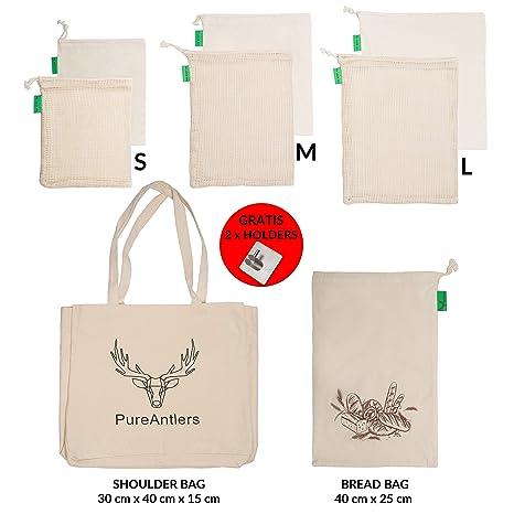 Bolsas de algodón reutilizables para frutas y verduras con ...