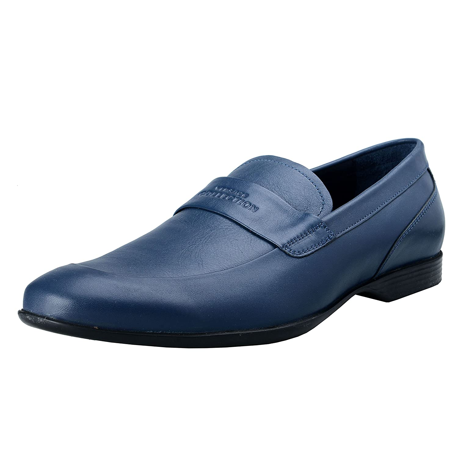 4a93859b24b6 Versace Collection Men s Blue Leather Loafers Slip On Shoes US 9 IT 42 cheap